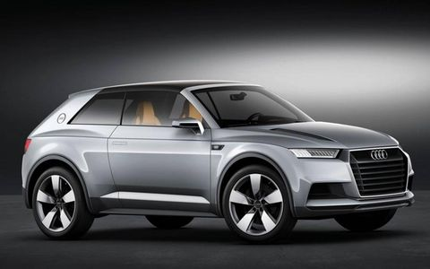 The Audi Crosslane Coupe concept uses a hybrid powertrain and a lightweight body structure.
