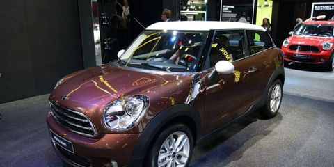 The 2013 Mini Cooper Paceman on display at the Paris motor show.