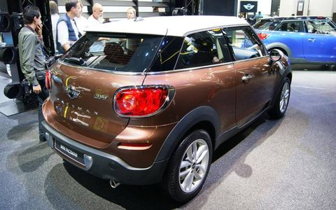 The 2013 Mini Cooper Paceman on display at the Paris auto show.