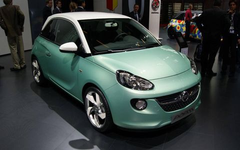 A front view of the Opel Adam at the Paris motor show.
