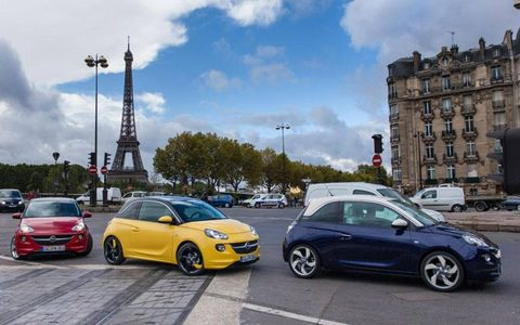 A gathering of Opel Adams in Paris for the Paris motor show.