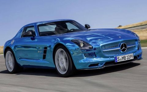 The SLS Electric Drive shares its exterior styling, including signature gullwing doors, with the gasoline-engined SLS AMG.