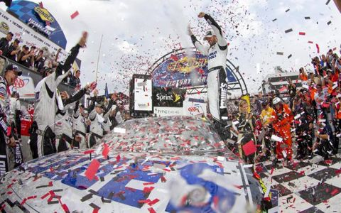 Jimmie Johnson wins the AAA 400 race at the Dover International Speedway in Dover, DE.