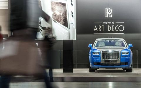 The Rolls-Royce art-deco-inspired display at the Paris motor show.