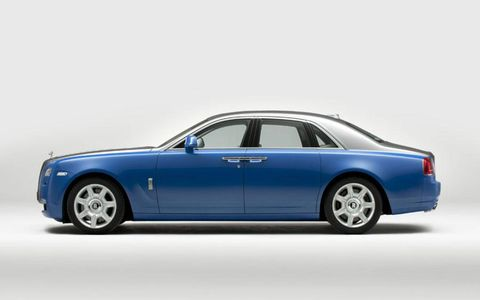 A profile view of the Rolls-Royce art-deco-inspired Ghost for the Paris auto show.