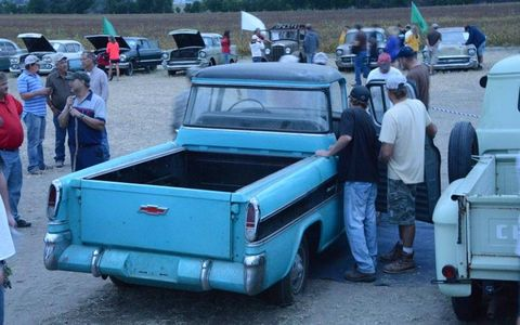 The 1958 Chevrolet Cameo was receiving plenty of attention even by 7:30 PM on the day of the preview.