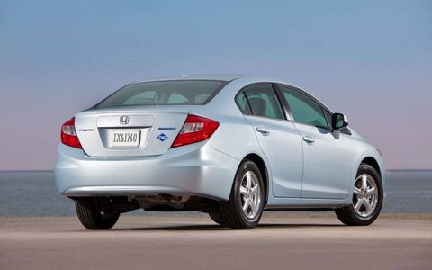 A rear view of the The 2012 Honda Civic Natural Gas sedan.