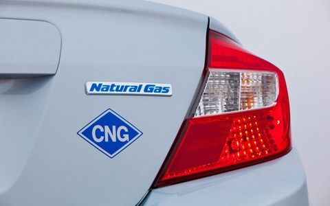 The 2012 Honda Civic Natural Gas has badges signifying it on the trunk.