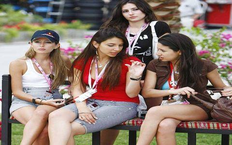 I wonder what she's talking about?--Bahrain Grand Prix