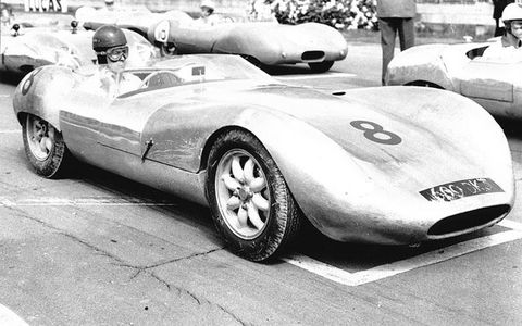 Eric Broadley sits in his Lola Mk1 prototype at Goodwood in 1958.