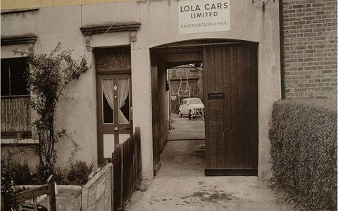 The original Lola 'factory' in Bromley, UK, in 1959