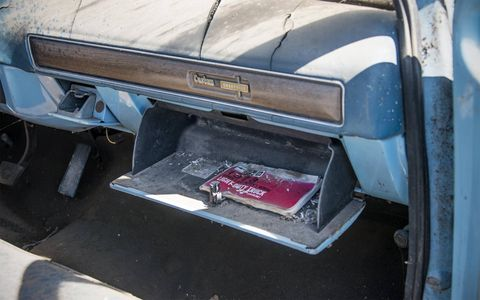 Many of the cars and trucks still had their papers in their gloveboxes, but it seems mice have been reading them all these years.