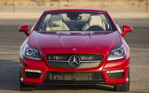 The Mercedes-Benz SLK55 AMG features a 5.5-liter V8, RWD, seven-speed automatic.