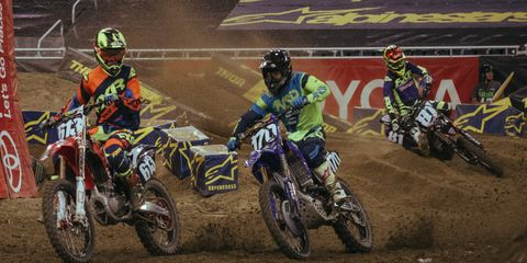 Supercross action at a recent Monster Energy AMA Supercross stop in Detroit was down and dirty.