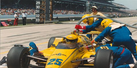 Al Unser won the 1987 Indianapolis 500 for Penske Racing, driving a hotel lobby display car.