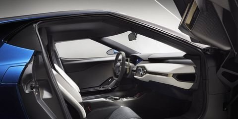 The new Ford GT interior is an evolution from the last model. Studies on what drivers actually look at when inside the cockpit shaped its development.
