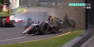 Fernando Alonso's McLaren comes off the wall before going airborne during Sunday's Formula One Australian Grand Prix.
