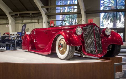 """The Mulholland Speedster is based off a 1936 Packard 1401 C, but it's """"about 3/4 scale,"""" said Ladd."""