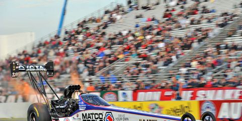 Antron Brown won the Top Fuel category in Sunday's NHRA event in New Jersey.