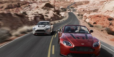 The Aston Martin V12 Vantage S Roadster has 565 horsepower under a heavily-vented hood.