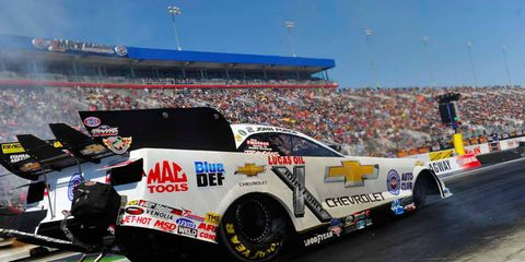 John Force will be bringing his white Chevrolet Funny Car to The Strip at Las Vegas this weekend.