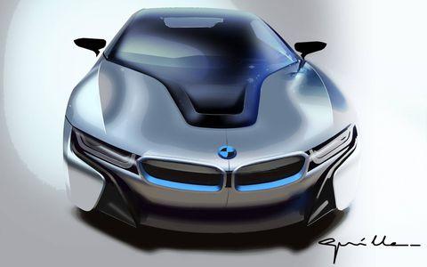 2015 BMW i8 design sketch, front.