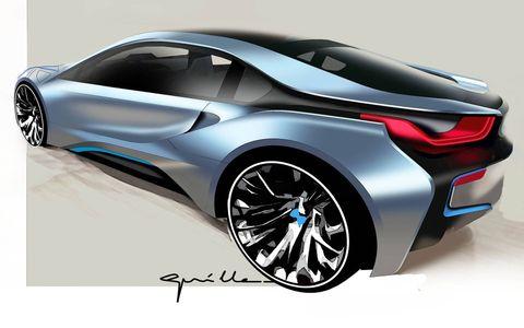 2015 BMW i8 design sketch, rear.