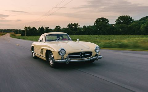 Previous owners haven't been afraid to add miles to this 1955 300 SL Gullwing's odometer, and we hope its new owner doesn't hesitate to drive the car, either.