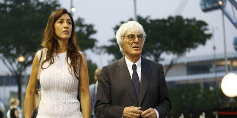 Bernie Ecclestone and his wife, Fabiana Flosi, at the Singapore Grand Prix.