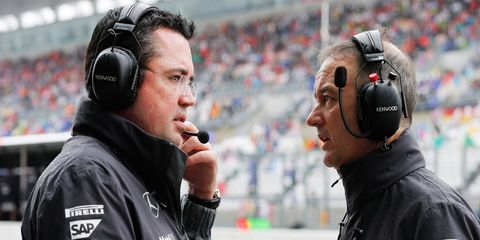 Team Boss Eric Boullier, left, and the leadership at McLaren say that the possibility of three-car teams in Formula One presents several questions that have yet to be answered.
