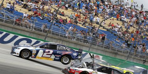 """Cup driver Brad Keselowski said in a teleconference, """"I don't know how you can enforce a rule like [staying in the car until the safety crews arrived] unless you had a robot on the track to grab the person and put them back in the car."""""""