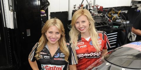 Brittany Force, left, and sister Courtney Force will be racing for $100,000 in the Traxxas Shootout at Indianapolis.