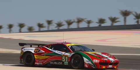 Gianmaria Bruni and Toni Vilander drove the AF Corse No.51 Ferrari to the GT drivers' championship in Bahrain on Saturday.