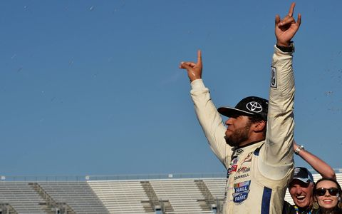 Darrell Wallace Jr. celebrates his victory for Toyota and Kyle Busch Motorsports.
