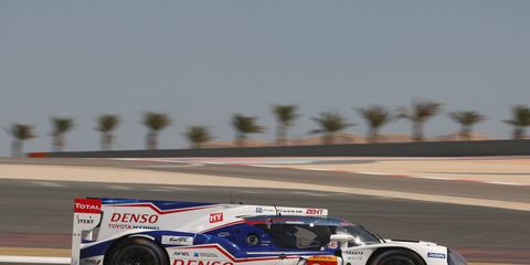 The Toyota TS040 of Anthony Davidson and Sebastien Buemi finished 11th in Bahrain on Saturday, and that was good enough for the season title in the World Endurance Championship.