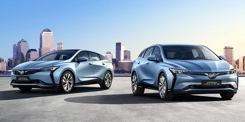The Buick Velite 6, pictured on the left, is an updated version of the second-generation Chevrolet Volt (sold as the Buick Velite 5), and will be joined by a pure-electric version (pictured on the right) of the Velite 6 later in 2019. But only in China.