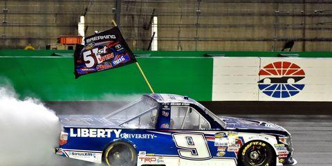 William Byron won Thursday night's NASCAR Camping World Truck Series race at Kentucky.