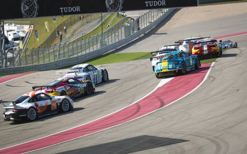 Traffic was heavy early in the WEC race at Circuit of the Americas.