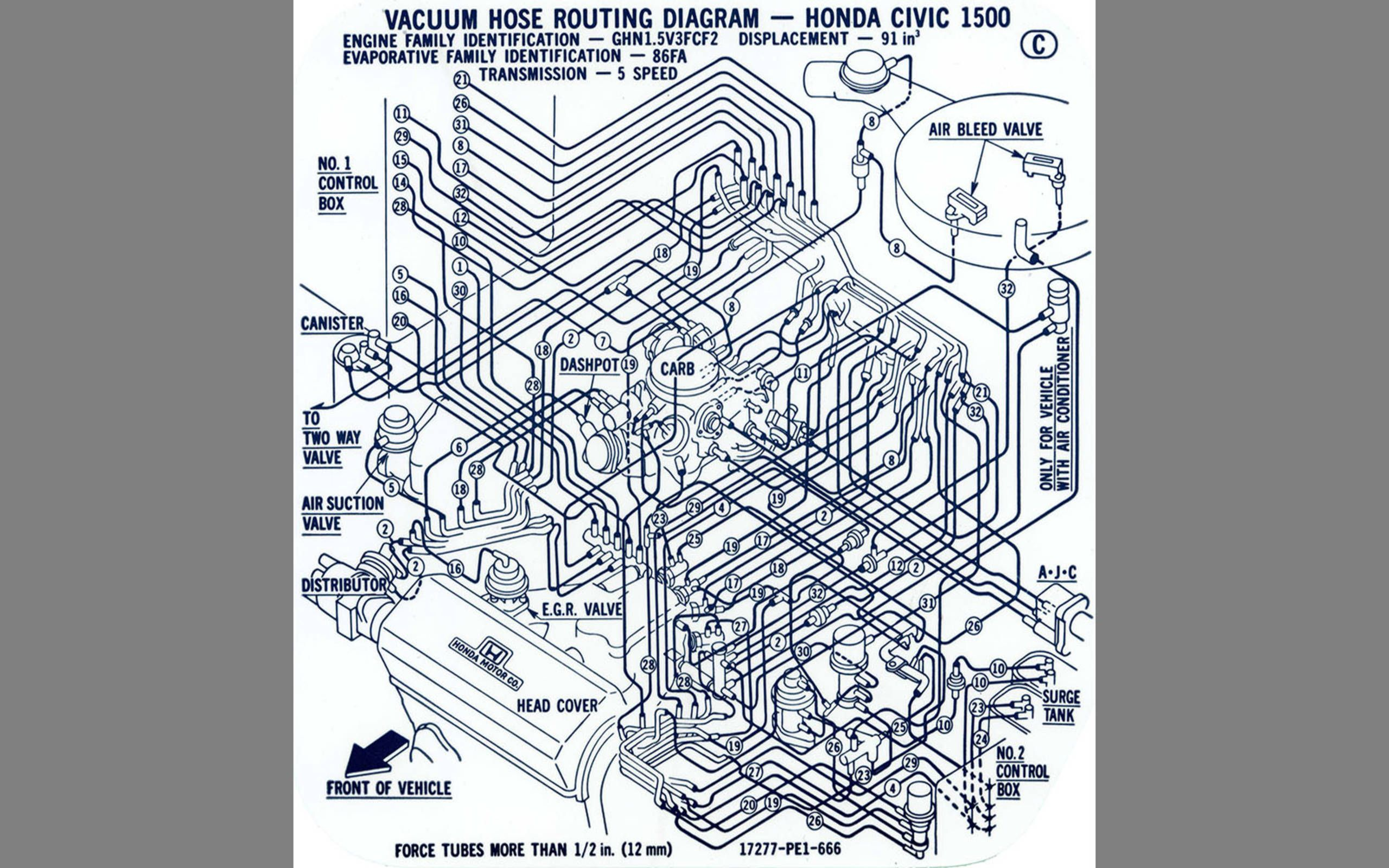 [SCHEMATICS_4UK]  A close look at the nightmare 1980s Honda CVCC vacuum hose tangle | 1986 Honda Civic Engine Diagram |  | Autoweek