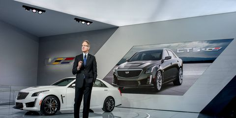 Cadillac president Johan de Nysschen, here introducing the ATS-V at the 2015 Detroit auto show