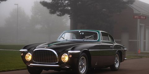 1952 Ferrari 212 Vignale creeps through the pre-dawn mist onto the lawn at McPherson College