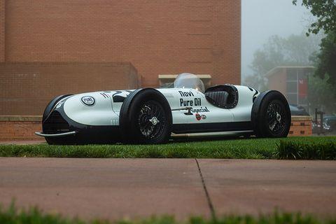 1946 Kurtis Novi Indycar in Pure Oil livery arrives at McPherson