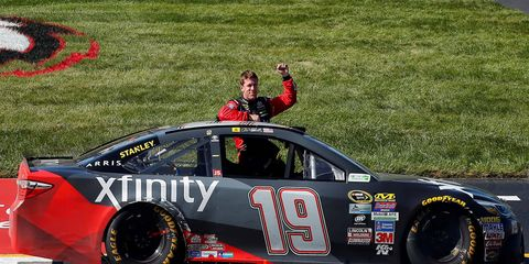 Carl Edwards celebrates his second win of the NASCAR Sprint Cup Series season.