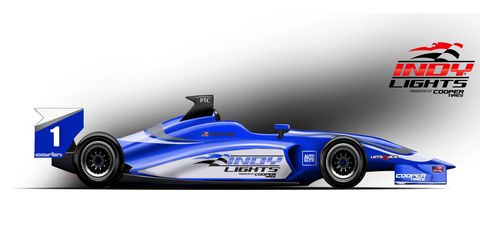 A mock-up of the 2015 Carlin Indy Lights race car.
