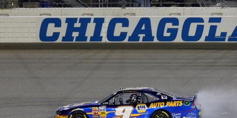 Chase Elliott captured his third win of the 2014 NASCAR Nationwide Series season on Saturday night at Chicagoland.