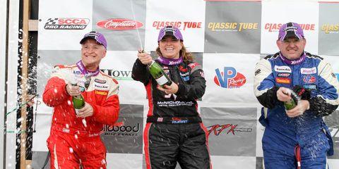 Amy Ruman after winning the TransAm TA class race at Watkins Glen.