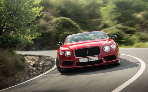 In the Bentley Continental GT Convertible, the V8 makes 521 hp at 6,000 rpm along with 502 lb-ft of rubber-spinning torque, low in the rev range.