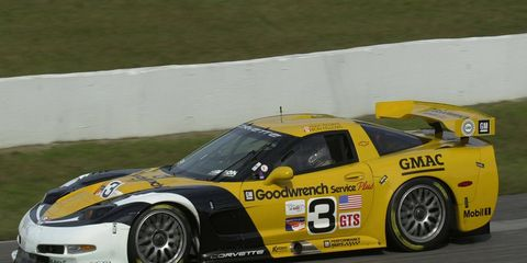 Andy Pilgrim and Ron Fellows drove the Corvette C5-R (shown here in 2000 at Canadian Tire Motorsports Park) to the program's first win at Texas Motor Speedway in 2000.