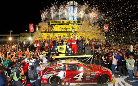 Kevin Harvick owned victory lane at Homestead-Miami Speedway following his victory on Sunday.