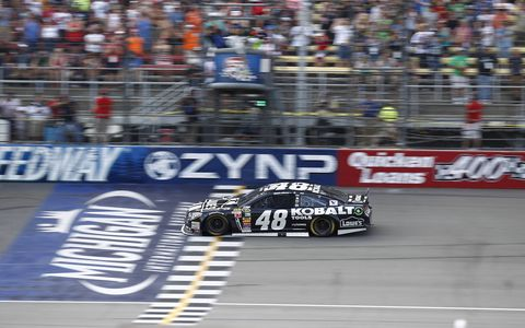 Jimmie Johnson finally broke through for the win at Michigan International Speedway in June of this year.